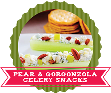 24 Ways to Stuff Celery Recipes - Pear and Gorganzola Celery Snacks