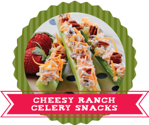 24 Ways to Stuff Celery Recipes - Cheesy Ranch Celery Snacks