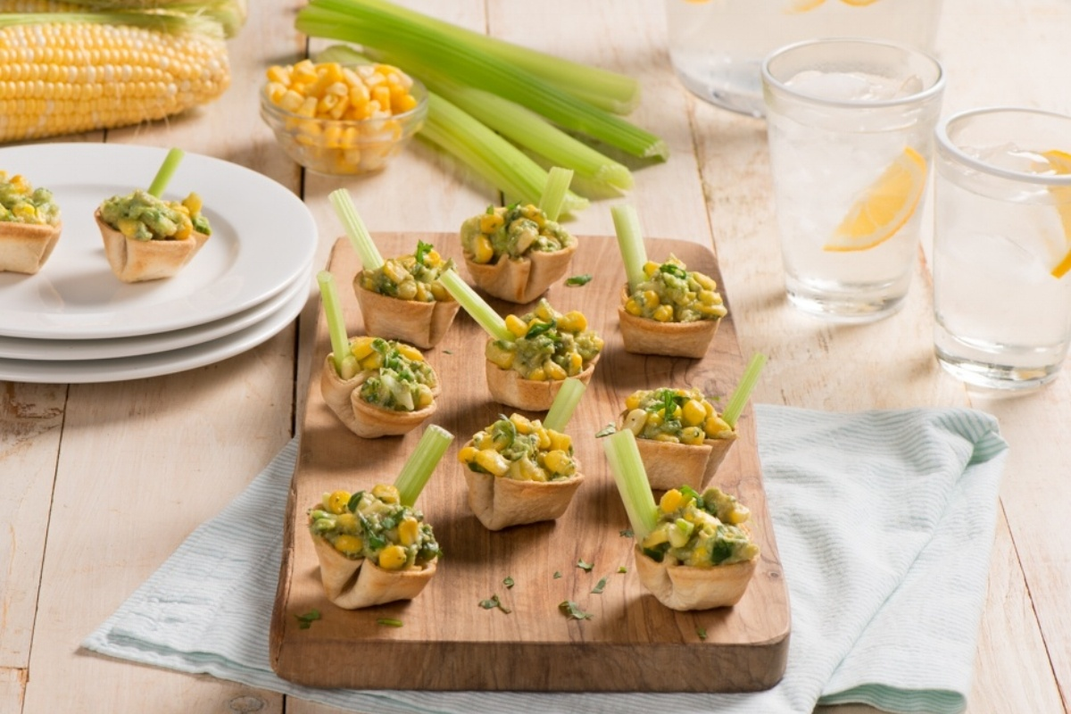 Tortilla Cups with Dandy Corn Guacamole