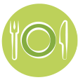 fork, plate, and knife icon