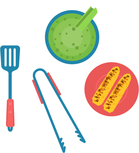 grilling utensils and plates
