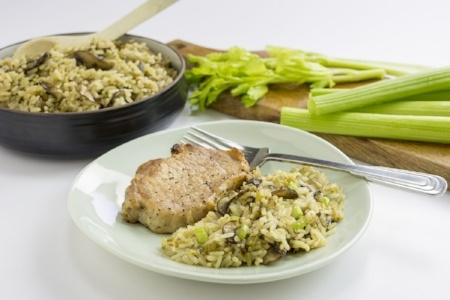 Pressure Cooker Pork Chops and Celery Rice