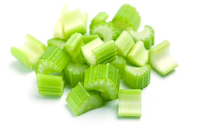fresh cut sliced & diced celery