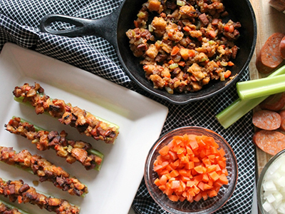 Roasted Celery Boats with Cajun Stuffing