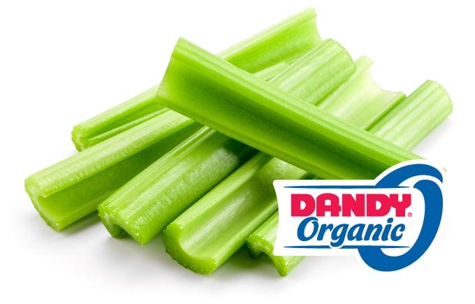 fresh cut organic celery sticks